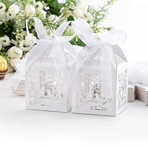 50x Boîte à dragées bonbons Coeur Oiseaux Cage blanc pour