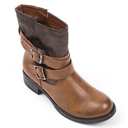 Ideal Shoes - Bottines motardes avec partie montante pailletée Perline Camel