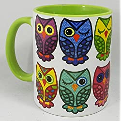 The Set of Colourful Motley Owls Mug with green glazed handle and inner