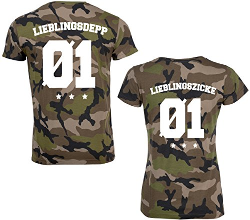 SE-creation Partner Camouflage T-Shirt Set | Lieblingsdepp & Lieblingszicke + Wunschzahl (T-shirt Freundin Gelben Beste)