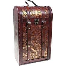 Caja de madera decorada para 2 botellas de vino - Caja para Regalo/Decoración (