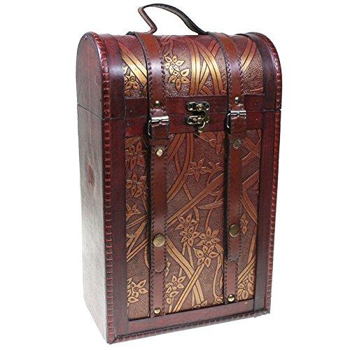 Caja de madera decorada para 2 botellas de vino. Asa de transporte y correas de piel marrón. Caja ideal para regalar. Dimensiones: 35,5 (alto) x21,5 (ancho) x 12,5 (profundidad) centímetros.