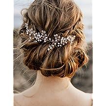 Handmadejewelrylady - Tocado con diseño de cristal para el pelo de novia o  dama de honor 0a409b382f73