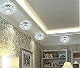 5W LED Moderne Kristall & Edelstahl Deckenleuchte Flush montiert Flur / Treppe / Schlafzimmer / Esszimmer Lampe Beleuchtung (Kaltes Weiß)