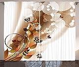 ABAKUHAUS Bräunen Rustikaler Vorhang, Frühlingsthemen Abstraktion, Wohnzimmer Universalband Gardinen mit Schlaufen und Haken, 280 x 245 cm, Dunkelbraun Weiß Braun