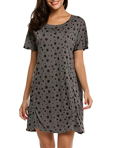 Ekouaer Damen Nachthemd Nachtkleid O-Ausschnitt Kurzarm Star Print Sleepwear Nachtwäsche Kleid Casual mit Tasche, Stil 1-Dunkelgrau, EU 38(Herstellergröße:M) -