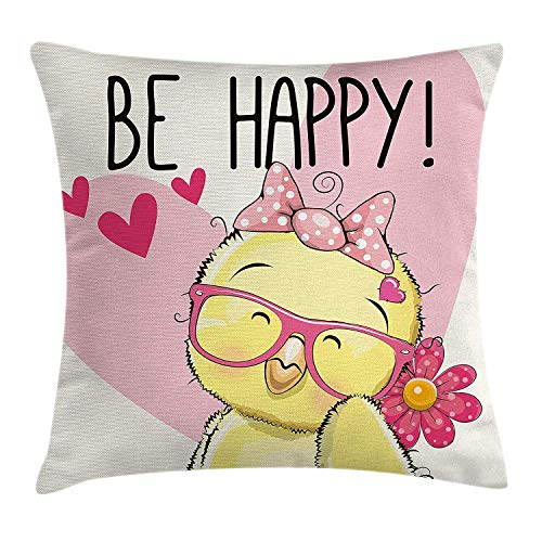 DHNKW Kids Throw Pillow Cushion Cover by, Be Happy Quote Cartoon Style Chicken Glasses Bow Tie Heart and Flowers, Decorative Square Accent Pillow Case, 20 X 20 inches, Pink Light Yellow Black Old Navy Bow Tie