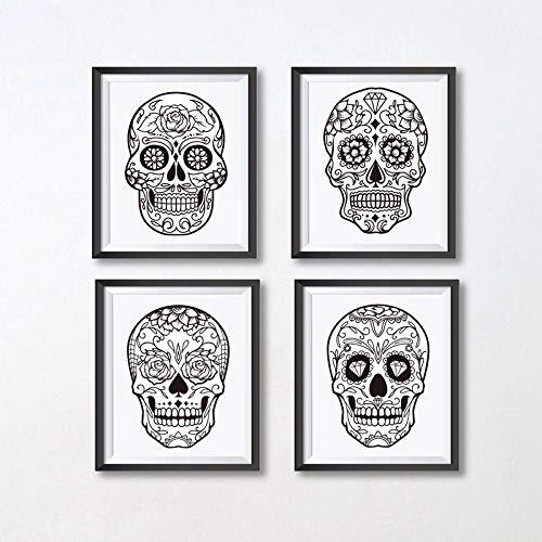 wydlb Sugar Skull Mexican Decor Leinwand, Kunst Malerei Sugar Skull Poster Leinwand Malerei Wand Dekor 50x70 cmx4 Kein Rahmen