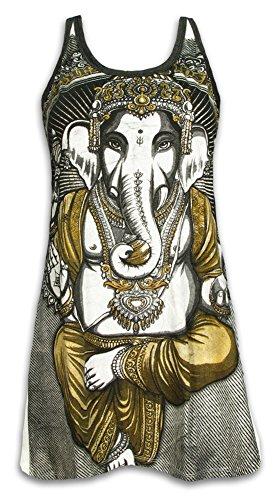 Weed Tank Dress Mini Kleid Long Top Damen - Elefanten Gott Ganesha Größe S M L Hinduismus Goa Party Buddhimus (Weiss M)