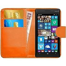 Funda Lumia 930, G-Shield Carcasa Libro de Cuero Con Tapa y Cartera [Ranuras para Tarjetas] [Cierre Magnético] Funda Billetera Case Cover Para Nokia Lumia 930 - Naranja