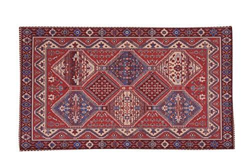 Homelife tappeto stile persiano/orientale 60x110cm | tappetino in cotone per salotto/camera da letto/soggiorno con fondo antiscivolo | scendiletto stampa digitale di inspirazione orientale rosso