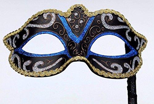 Blau Schwarz Silber Bronze und Gold Venezianische Maskerade Partei Karneval Maske auf einem Stick/Stock