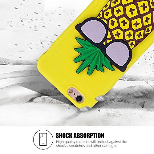 iPhone 6S Hülle, iPhone 6 Case, SpiritSun Weiche Flexible Gel TPU Silikon Handy Hülle Schutzhülle Schale Etui Protective Case Cover für iPhone6/6S Silikonhülle Tasche Rück mit Ultra Slim Skin Cover Ap Ananas