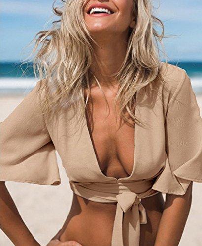 Smile YKK Bauchfrei Sexy Damen V Ausschnitt Sommer Tops Shirt Shirt T-Shirts Kurzarm Khaki
