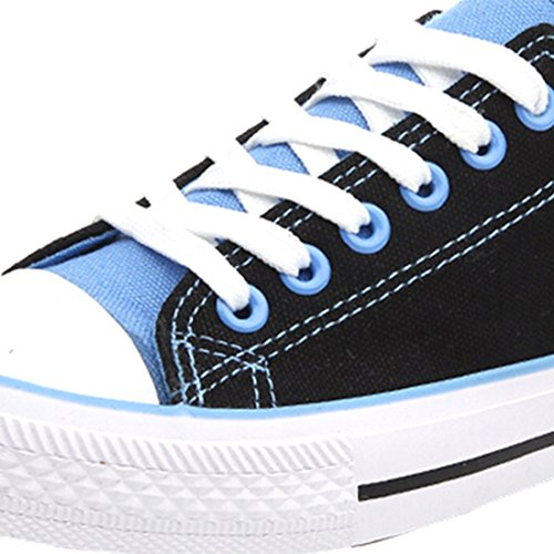 Oasap Women's Fashion Lace-up Canvas Sneakers Black&blue
