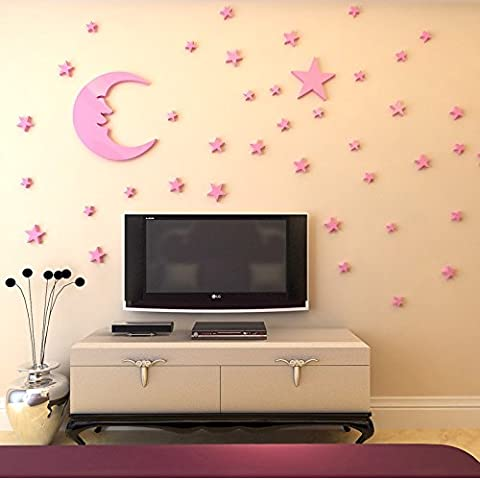 Loterong The Moon And The Stars In The 3D Cartoon Color Stereo Wall Sticker Bedroom Roof Decorations Home Furnishing Children,Pink Star Huang Yueliang,Large
