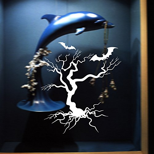 (EgBert Hallowen Baum Glas Fenster Dekor Wandaufkleber Party Haus Dekoration Kreative Aufkleber DIY Wandbild Wandkunst Aufkleber - Weiß)