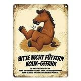 trendaffe - Metallschild mit Pferde Motiv und Spruch: Bitte Nicht füttern - Kolik-Gefahr