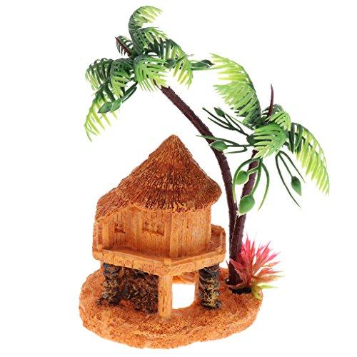 PETSOLA Aquarium Deko Haus Mit Künstliche Kokospalme