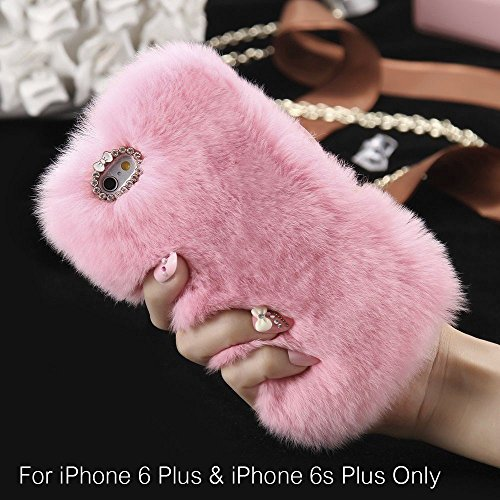 KC Soft fluffy Handmade Luxuray Fur Back Case Cover iPhone 6 Plus & iPhone 6s Plus (5.5 inch) - Baby Pink