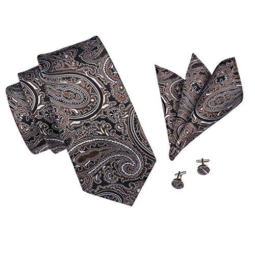 Hi-Tie Herren Krawatte onesize Gr. onesize, Brown Paisley (Paisley Braun)