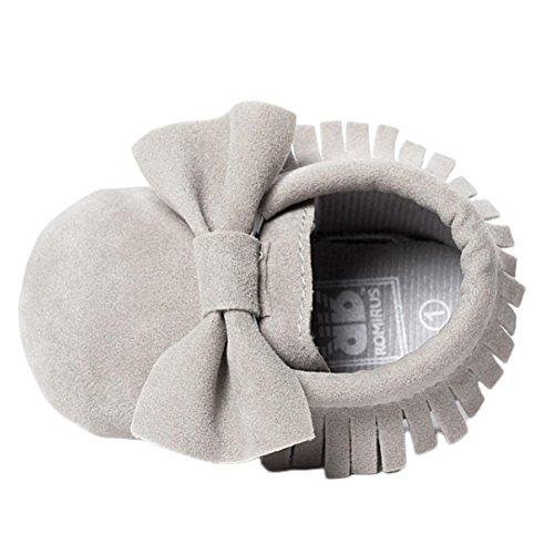 Babyschuhe Longra Baby Kinderbett Fransen Pailletten Schuhe Kleinkind Weiche Sohle Turnschuhe Freizeitschuhe Lauflernschuhe(0~18 Monate) (12cm 3~6 Month, Grey) (Baby-mädchen Sandalen Kleid)