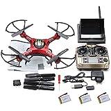 kingtoys® JRC H8D Drone Helicóptero de 4 Canales 2.4GHz Gyro RC Quadcopter 5,8 g Imagen Transmisión Rc Exploradores Quad Drone helicóptero con el modo de cámara de 2MP HD sin cabeza FPV + Batería *2