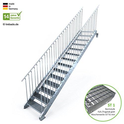 Außentreppe 14 Stufen 80 cm Laufbreite - beidseitiges Geländer - Anstellhöhe variabel von 233 cm bis 280 cm - Gitterroststufe ST1 - feuerverzinkte Stahltreppe mit 800 mm Stufenlänge als montagefertiger Bausatz