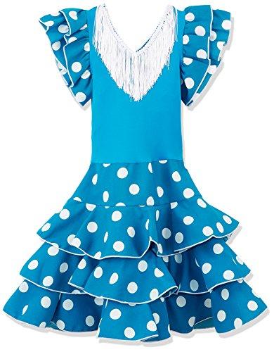 La Senorita Vestido ropa Flamenco Niño Lujo Español Traje de Flamenca chica/niños azul blanco (Talla 6, 110-116 - 75 cm, 5/6 años)