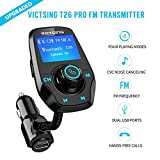 #10: Fm Transmitter for Car, Victsing T26 Bluetooth Radio Transmitter from Phone to Car, Fm Stereo Transmitter Kit for Music, Mp3 Player Fm Modulator with USB 5V 2.1A USB Charger, 1.44 Inch LCD Display, 4 Playing Modes, Wireless Fm Broadcasting, Aux Car Audio Fm Adapter for iphone ipod Android & more Devices , Black