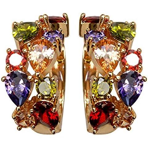 ZWX Gioielli dell'orecchio di Lady Crystal/European fashion retro color orecchini/ clip orecchio/temperamento selvaggio-A - Rosa Anelli Dell'orecchio
