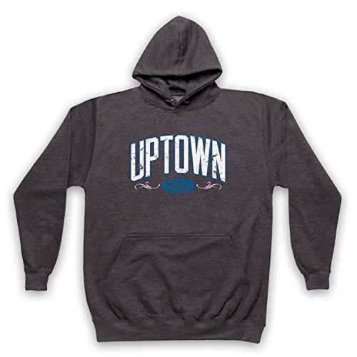 Hip-hop-holzkohle (My Icon Art & Clothing Uptown Baby Hip Hop Retro NYC Slogan Erwachsenen Kapuzensweater, Holzkohle, XS)