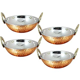 Avs Stores ® Set of 4, Indian Copper Serveware Karahi Vegetable Dinner Bowl with Solid Brass Handle for Indian Food, Diameter- 15 Cm (6 Inches)