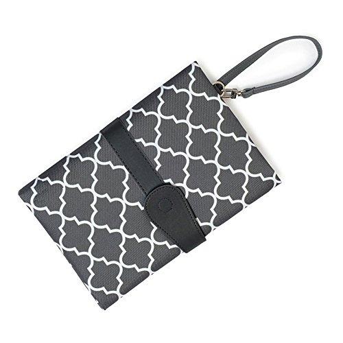 VANKER - Cambiador portátil de poliéster para pañales y pañales, impermeable, lavable, plegable, para viaje, para bebé gris