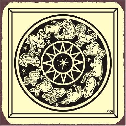 Zodiac ruota Astrologia latta 30,5x 30,5cm segni in metallo quadrato in metallo arte lettura Retro Vintage
