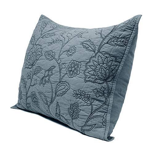 Elegant Life 100% Baumwolle Wendbar Night Blossom Stickerei Quilt Tagesdecke Überwurf und kissenrollen Kissenbezüge Set, baumwolle, Park Blue, Standard Sham -