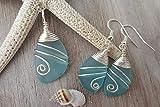 Hecho a mano en Hawaii, collar de aretes de turquesa azul turquesa envuelto en alambre + juego de joyas,'Birthstone de diciembre', cadena de plata esterlina, papel de regalo GRATIS