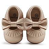 DELEBAO Chaussures Bébé Chaussons Bébé Cuir Souple Chausson Enfant Chaussures Premiers Pas Cuir Souple Bébé Fille Chaussures Bébé Garçon Or 18-24 Mois