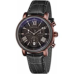 Thomas Earnshaw Longcase 43 Men's Quartz Watch with Brown Dial Analogue Display with Black Leather Strap ES-0016-08