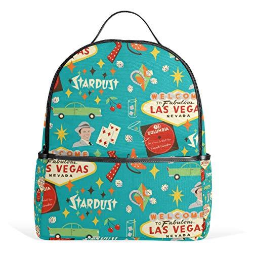 Vintage Las Vegas Rucksack für Herren und Damen Rucksack Schultertasche Daypacks Teenager Reisetaschen Casual Daypack für Reisen