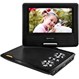 APEMAN 7.5'' Portable DVD Player For Kids And Car Swivel Screen Support SD Card USB CD DVD With AV Input/Output And Earphone Port 4 Hours Built-in Rechargeable Battery