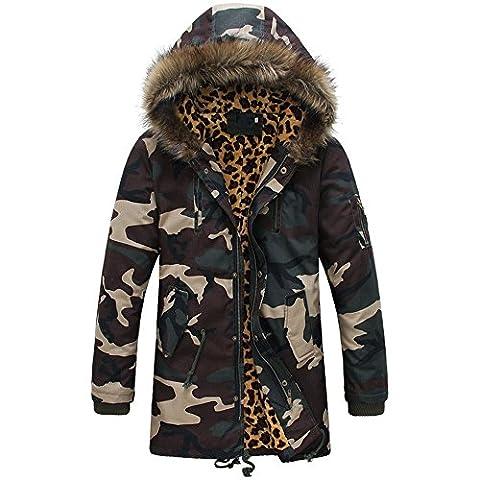 CARVOG Parka Herren Mantel Camouflage Wintermantel mit Kapuze Fellkapuze Jacke Winterjacke
