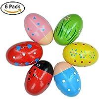 Cymax 6 piezas percusión divertido huevo Musical Maracas de madera huevo cocteleras niño niños juguetes