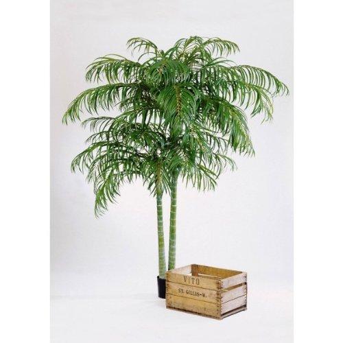 Künstliche Areca Palme NAOMI im Zementtopf, 2 stämmig, DELUXE, 1608 Blättern, 210 cm – Hochwertige Kunstpalme – artplants