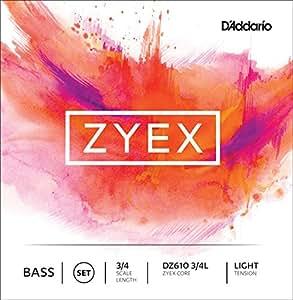 D'Addario Bowed Jeu de cordes pour contrebasse D'Addario Zyex, manche 3/4, tension Light