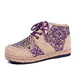 Best B.O.C. Ankle Boots - JRenok Women Ankle Flat Boots Embroider Comfortable Lace-up Review