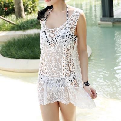 &qq Weiblicher Strandmantel, böhmischer Hohlweste Rock, Bikini Badeanzug Bluse Schal , one size , pure white