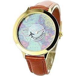 Mini Welt Marke fq-001World Map Design Braun Synthetik Leder Damen Quarz Handgelenk Uhren