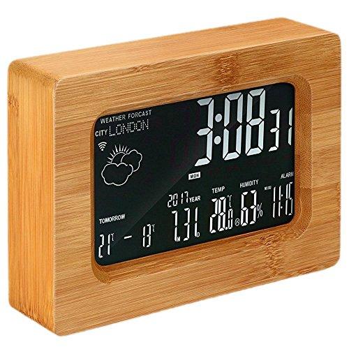 SMAERTHYB LCD Forecast Station Holz Wi-Fi Wireless Digital Wetterstation Wecker Alarm