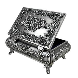 Unendlich U Luxus Synthetik Schmuckkoffer Retro Style Antique Rectangle Form und Rose Schmuckkästchen für Damen,Reines Zinn-Schmuckstück,Silber